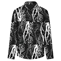 AOWOFS シャツ カジュアル 3Dプリント ストレッチ シンプル メンズ おしゃれ 上着 38サイズ ゆったり 長袖 通勤 日常 春夏秋