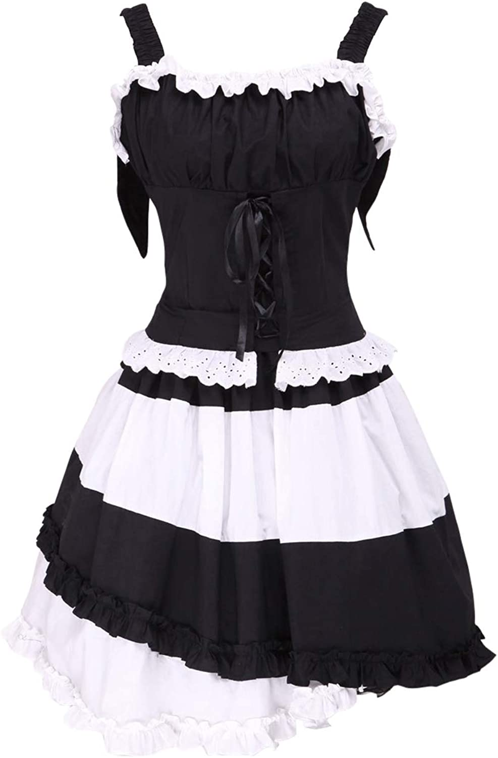 Antaina Black Cotton Ruffle Lace Sweet Gothic Victorian Lolita Cosplay Dress