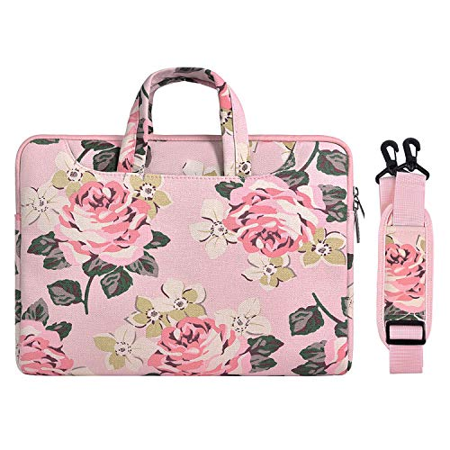 MOSISO Laptop Shoulder Bag Compatible with 2019 MacBook Pro 16 inch A2141, 15-15.6 inch MacBook Pro 2012-2019, Notebook, Canvas Rose Pattern Carrying Briefcase Handbag Sleeve Case Cover, Pink