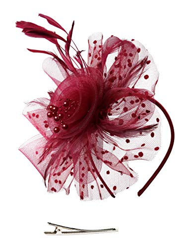 Fascinators Hat for Women Tea Party Headband Kentucky Derby Wedding Cocktail Flower Mesh Feathers Hair Clip (1-Burgundy)
