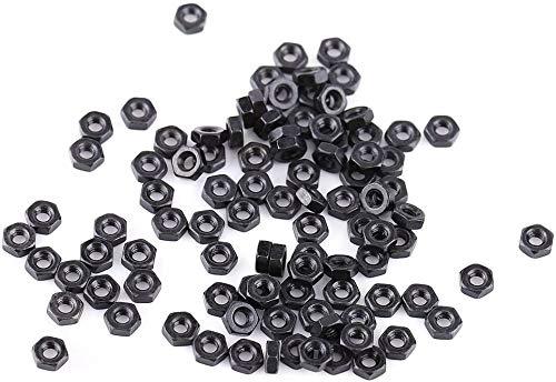 100pcs Din934 Schwarzes Zink überzogen 8.8 Klasse Carbon Stahl Hex Sechskantmuttern M2-M5, Volles Gewinde, Einfaches Ende(M5)
