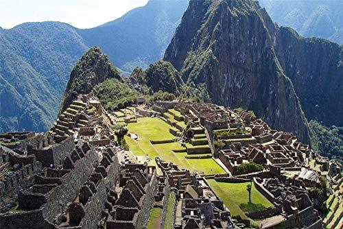 LSDAMN 5D DIY diamante pintura Kit Machu Picchu Perú redondo taladro completo bordado punto de cruz para decoración de la pared del hogar regalo del día de San Valentín 40 * 50cm