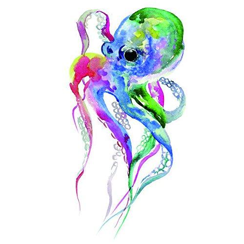 WYUEN 12 PCS Octopus Mermaid Temporary Tattoo Sticker for Women Men Fashion Body Art Adults Waterproof Hand Fake Tatoo 9.8X6cm W12-09