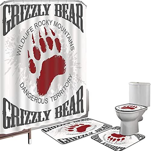 Juego de cortinas baño Accesorios baño alfombras Grunge Grizzly Bear Footprint Emblema...