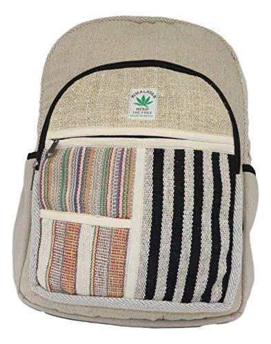 HIMALAYAN Mochila de cáñamo, mochila diaria/mochila para la escuela, viajes, ocio, al aire libre, naturaleza, con compartimento para portátil, hecha a mano en Nepal, modelo 135.2
