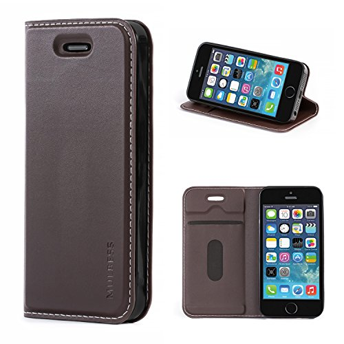 Mulbess Funda iPhone 5s [Libro Caso Cubierta] [Slim de Billetera Cuero] con Tapa Magnética Carcasa para iPhone SE 2016 / 5s / 5 Case, Vintage Marrón