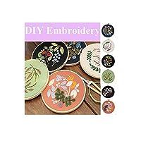 手作り刺繍スターターキット、パターン刺繍布を含む初心者向けクロスステッチキット、プラスチックフープ、カラーフロス、ツールキットのフルセット (20)