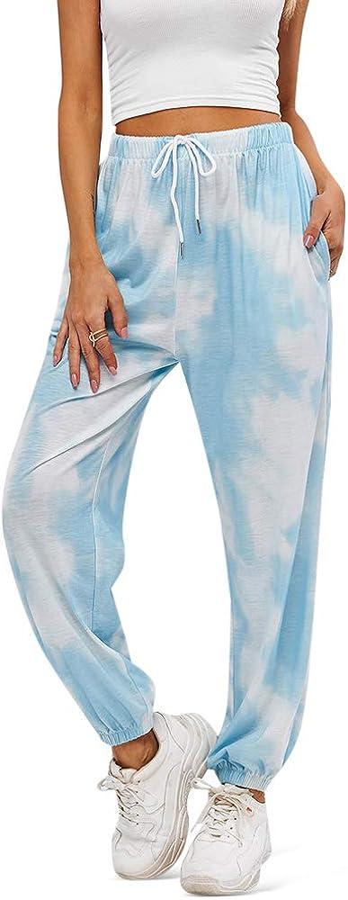 ZAFUL Women's Elastic Waist Pants Casual High Rise Plaid Striped Jogger Pants
