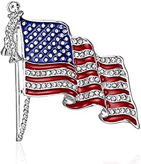 Lux Accessories Red Clear Crystal Rhinestones American Flag Ribbon Fashion Brooch Pin