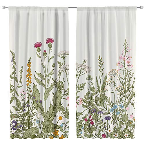 Riyidecor Flower Home Decor Curtains Rod Pocket Floral Green Leaves Patterned Window Drapes for Women Vintage Botanical Printed Bedroom Art Plant Living Room Treatment Fabric (2 Panels 42 x 63 Inch)