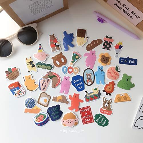 DSSJ Ins Wind Cute Bear Hand Account Stickers 40 Pegatinas de decoración de Bricolaje de Hojas Sueltas Corazón de niña