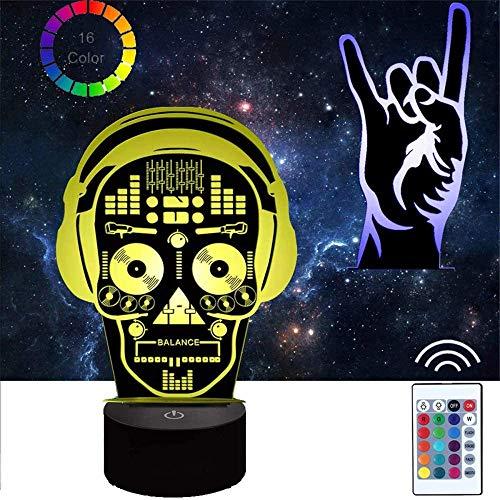RHBNVR Lámpara de ilusión 3D LED noche luz DJ esqueleto óptico noche noche luces iluminando lámpara niños 16 color cambiante botón táctil USB cable decoración lámparas escritorio