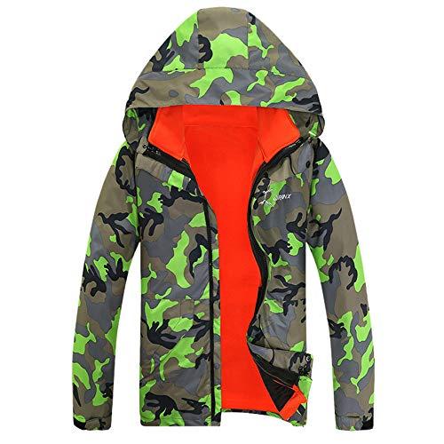 Aiserkly Herren Übergangsjack Winterjacke Hooded Zipper Fleece Jacke Outdoor Funktionsjacke Freizeitjacke Wintermantel Parkajacke Winterparka Plus Size Grün M