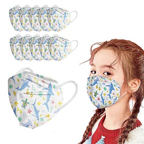 VEMOW 5 Capas Tela para Niños Proteccion, 95 Dibujos Animados Impreso Bufanda Transpirables con Elástico para Los Oídos Bolsa para Trabajo Ciclismo Gimnasio para Actividades al Aire Libre(A5-100pc)