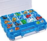 HOME4 Double Sided BPA Free Toy Storage Container - Compatible with Mini Toys, Small Dolls Bakugan - Toy Organizer Carrying Case - 34 Adjustable Compartments