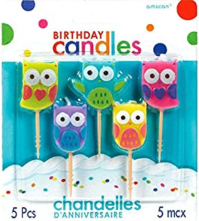 Amscan   Party Supplies   Birthday Toothpick Candles - Owls   Pack of 5   Multicolor