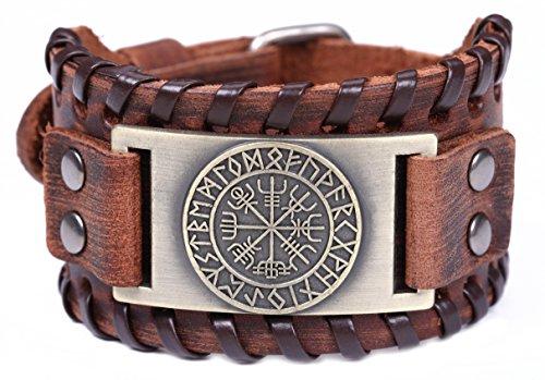TEAMER Nordische Wikinger Runen Amulett Lederarmband Isländisches Vegvisir Symbol für Glück und Segen(Antike Bronze, Braun)