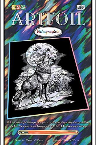 MAMMUT 8290545 - Artfoil, Kratzbild, Tiermotiv, Wolf, Holografie, Komplettset mit Kratzbild, Kratzmesser und Anleitung, Scraper, Scratch, glänzend, Kratzset für Kinder ab 8 Jahre