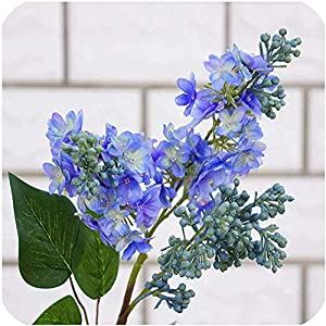 Silk Flower Arrangements GzxLaY Silk Lilac Fake Flowers Home Year Decoration Accessories Wedding Party Bride Bouquet DIY Material Artificial Flowers,Blue,Size:One Size,Color:White (Color : Blue, Size : One Size)