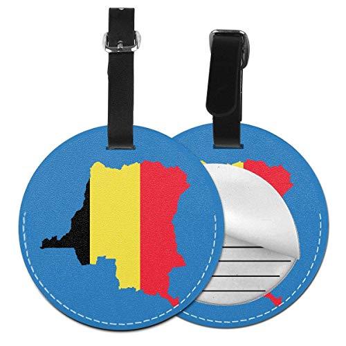 Etiqueta Redonda de identificación de Equipaje, diseño de Mapa de Bélgica, Negro (Negro) - 5063178169974