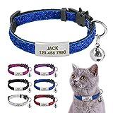 Beirui Collares para gatos con etiquetas de identificación deslizantes de acero inoxidable – Etiqueta de identificación personalizada para mascotas con hebilla de liberación rápida y seguro