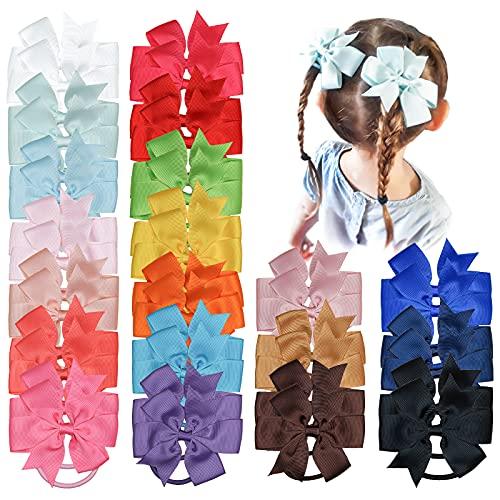 JOYOYO 40 lazos para el pelo para niñas de 3.5 pulgadas con bandas de goma elásticas, lazos para coletas, lazos para el pelo para niñas, niños pequeños