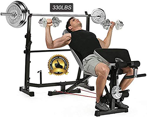 Adjustable Olympic Weight Bench with Leg Developer for Weight Lifting and Strength Training and Squat Rack Stand for Proffesional Fitness Home Use Indoor Exercise