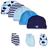 Luvable Friends Unisex Baby Cotton Caps and Scratch Mittens, Whale, 0-6 Months