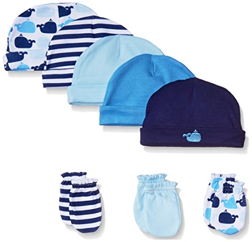 Luvable Friends Boys' 5-Pack Cap and 3-Pack Scratch Mitten Set, Blue Whales, 0-6 Months