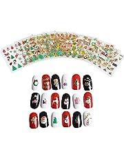 12szt Boze Narodzenie Nail Stickers Naklejki 3D Nail Art Wzory Wzory samoprzylepna Tip Nail Art Naklejki kreatywnego projektowania Nowy Rok róznych narzedzi Naklejka manicure