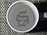 Good Morning You Sexy Beast Coffee Mug, Bottom, hidden message, secret message, Coffe cup, surprise mug, porcelain