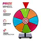 REDLEK Spinning Prize Wheel Small 12', Spinning Tabletop 8 Slots Roulette Wheel with Dry Erase Markers and Eraser | Mini with Sturdy Stand and Bearing | for Kids Carnival Classroom and Trade Show