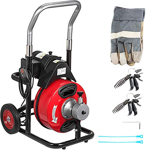 Mophorn 100Ft x 3/8Inch Drain Cleaner Machine fit 1 Inch (25mm) to 4 Inch(100mm) Pipes 370W Drain Cleaning Machine Portable Electric Drain Auger with Cutters Drain Auger Cleaner Plumbing Tool