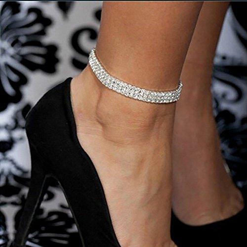 HOMEYU® 3-reihige Sexy Stretch Fußkettchen Österreichische Kristall Strass Stretch Elastische Fußkettchen Für Frauen Silber