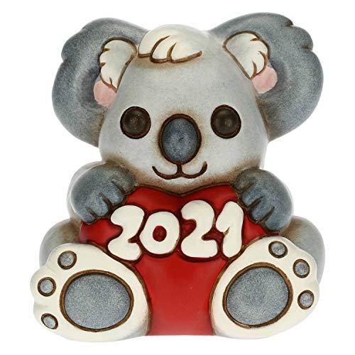 THUN - Soprammobile Koala Capodanno Buon 2021 - Accessori per la Casa da Collezionare - Formato Piccolo - Ceramica - 6 x 5,4 x 7 h cm