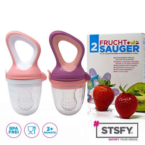 2 Fruchtsauger für Baby & Kleinkind + 6 Silikon-Sauger in 3 Größen – BPA-frei – Schnuller Beißring für Obst Gemüse Brei Beikost - 7