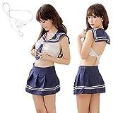 ミニスカ セーラー服 & Tバック セット セクシー コスプレ 衣装 コスチューム レディース フリーサイズ (紺)