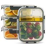 ZoëundMii 4er Set Vorratsbehälter & Frischhaltedosen, je 1050 ml,Meal Prep,innen zweigeteilt, luftdicht & auslaufsicher, kühlschrank-, offen- & mikrowellengeeignet, spülmaschinengeeignet