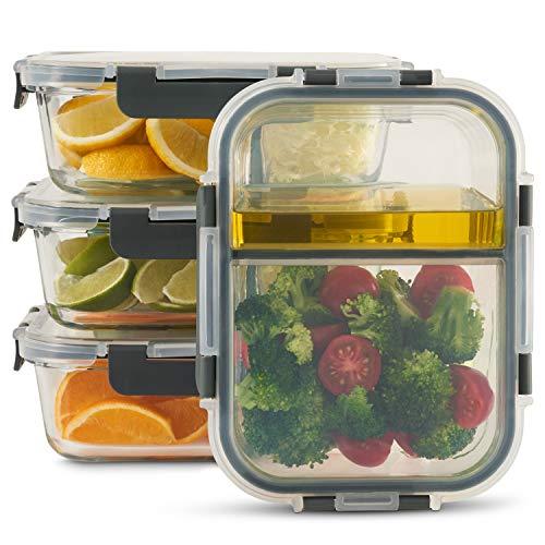 Zoë&Mii hochwertige Glas Frischhaltedose mit Deckel – 4-er Set, 2-Fach, Meal Prep Glas – Auslaufsichere Meal Prep Container aus Glas – Praktisches Mikrowellengeschirr-1050ml