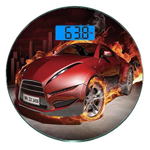 Digitale Präzisionswaage für das Körpergewicht Runde Autos Ultra dünne ausgeglichenes Glas-Badezimmerwaage-genaue Gewichts-Maße,Rote Sportwagen-Burnout-Reifen in Flammen, die Motor-heißes Feuer-Rauch-