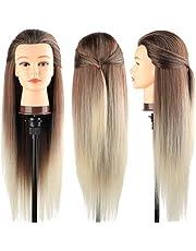 Cabeza maniquí, DanseeMeibr 66cm cabeza peluqueria Practicas Formación de la Cosmetología para trenza 100% de cabello sintéticas, cabeza de muñeca con Soporte de Mesa + Accesorios de Peinado