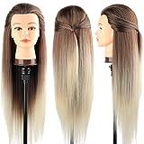 Tete a Coiffer, DanseeMeibr 66cm Tête de coiffure 100% de Cheveux Synthétiques Têtes d'exercice pour le Salon Coiffeur Poupée avec Support + Ensemble de Tresse (Ombre)
