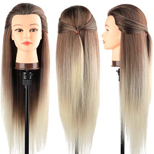 Trainingsköpfe 100% von dem Hochtemperaturfaser Haar Hairdressing Cosmetology Mannequin Frisierkopf Übungskopf mit Halterung+ DIY Haar Zubehör styling (C)