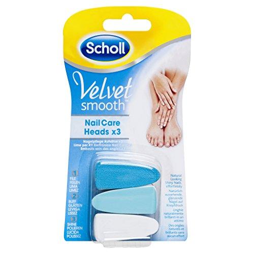 Scholl Velvet Smooth Elektronisches Nagelpflegesystem Ersatzfeilen mit Aufsätze, 1er Pack (1 x 3 Stück)