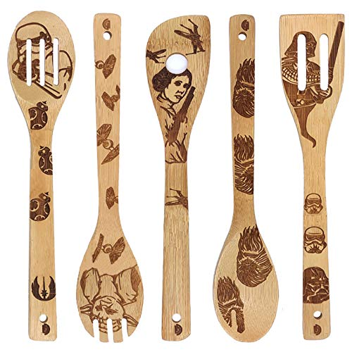 5 Pcs Star War Pattern Burned Wooden Utensils Cooking Set Organic Non-Stick Bamboo Spoons Turners Carved Spatulas for Cookware Kitchen Gadgets - Premium Quality Cooking Spoon Creative Gifts for Friend
