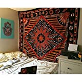 Hippie Mandala Sun and Moon Maditation Poster Tapestry Wall Hanging - Indian Golden Burning Sun Stars Psychedelic Popular Mystic Beach Blanket 30 x 40 Inch