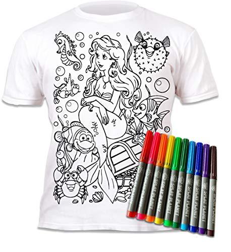 Camiseta SIRENA niña. Con preimpresión para pintar y colorear. Se suministra junto a seis lápices de colores Magic lavables. 9-11 años de los niños de ocio; juego creativo para regalo. Ariel.