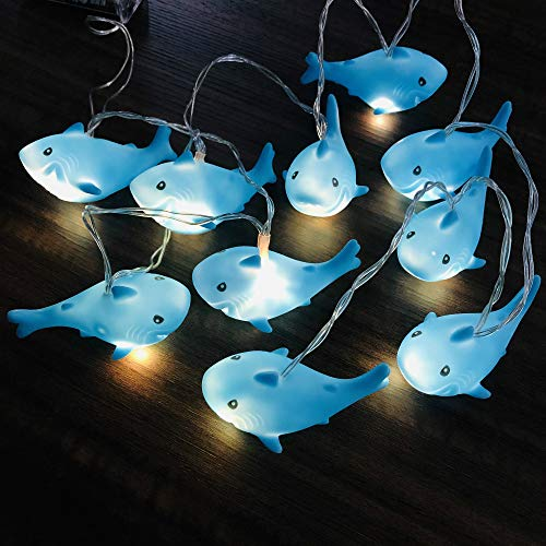 Cute Shark String Lights Copper Wire Led Animal Lamp 10LED Indoor Battery Operated Fairy Lights Festival Lights for Bedroom Party Holiday Christmas Decorative Kid's Cognitive Toys (Shark, 5.4FT/10LED)