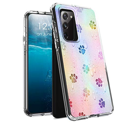 for Samsung S20 FE Case,Galaxy S20 FE Case,BEROSET Dual Layer Hard Acrylic Back + Soft TPU Case Shockproof High Impact Protective Clear Phone Case for Samsung Galaxy S20 FE - Dog Paws