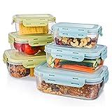 Baban Boite Alimentaire Plastique Lot de 6 pièces Bacs Conteneurs Empilables avec Couvercles Hermétiques, Boite Conservation sans BPA Livré avec 10 crochets en acier inoxydable